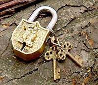 9070053 Замок навесной бронзовый Радха Кришна