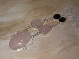 Колье розовый кварц гранат ожерелье с кварцем гранатом в серебре Индия, фото 2