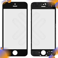 Стекло iPhone 5, с рамкой, цвет черный, уценка