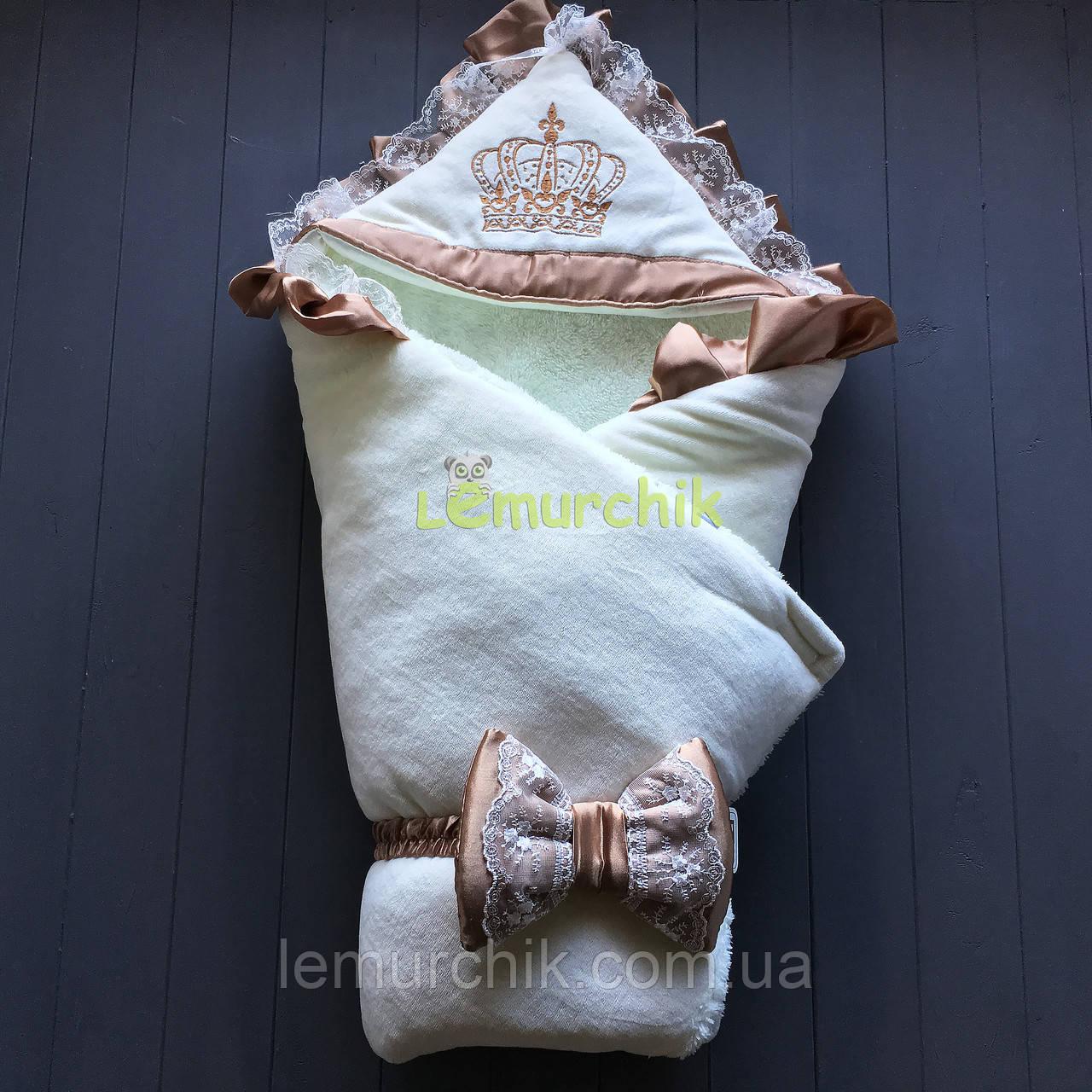 Конверт-одеяло на махре с капюшоном Корона, молочный