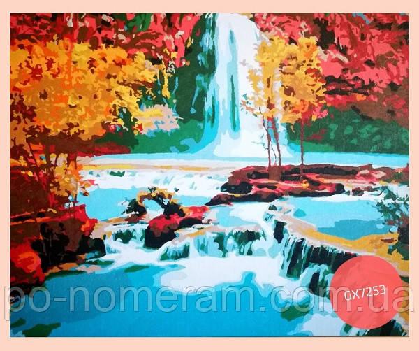 картина по номерам водопад нарисованная