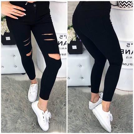 Черные джинсы с разрезами, фото 2