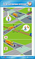 Стенд. Безпека руху. Рух по залізничних переїздах. 0,6х1,0. Пластик