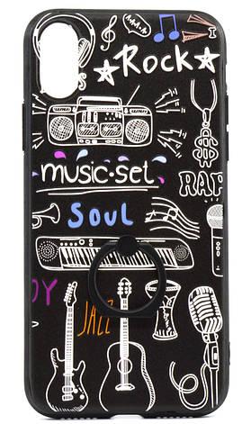 "Чохол-накладка для Apple iPhone X (5.8"") TPU Чорний/ Музика, фото 2"