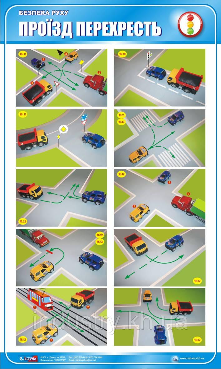 Стенд. Безпека руху. Проїзд перехресть. 0,6х1,0. Пластик