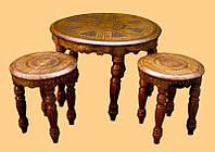 9160202 Стол + 2 стула из красного дерева