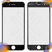 Стекло iPhone 6, цвет черный, с рамкой, уценка