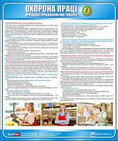 Стенд. Охорона праці продавця продовольчих товарів. 0,5х0,6. Пластик