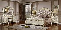Спальный гарнитур  белый с золотом Бароко Равенна