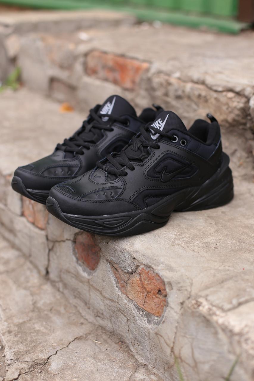 Мужские кроссовки Nike Air Monarch черные кожаные
