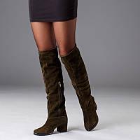 Сапоги женскиена среднем каблуке замшевые выше колена размеры 36-41