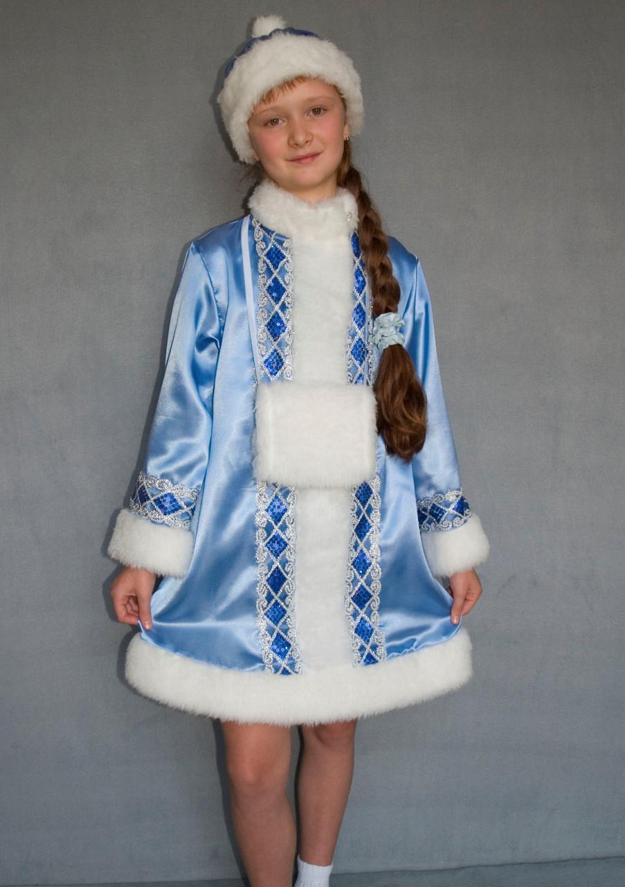 Карнавальный голубой костюм Снегурочки для девочки 9-10 лет