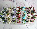 Обруч-веночек с розами ручная работа голубой, фото 5