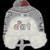 Детская зимняя вязаная шапочка р. 44-46 на овчине с завязками 2485 Серый 44
