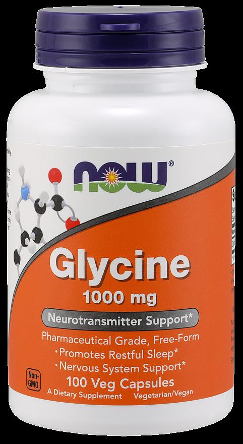 Аминокислоты NOW Glycine 1000 mg 100 caps, НАУ Глицин 1000 мг 100 капсул
