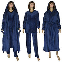 Комплект женский махровый 18301 18302 Classic Dark Blue вельсофт, пижама и халат, р.р.44-62