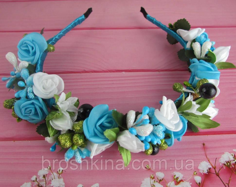 Обруч-веночек с розами ручная работа голубой