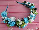 Обруч-веночек с розами ручная работа голубой, фото 2