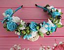 Обруч-веночек с розами ручная работа голубой, фото 3