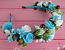 Обруч-веночек с розами ручная работа голубой, фото 4