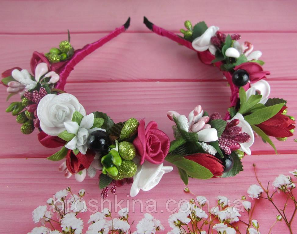 Обруч-веночек с розами ручная работа бордовый