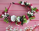 Обруч-веночек с розами ручная работа бордовый, фото 2