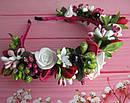 Обруч-веночек с розами ручная работа бордовый, фото 3