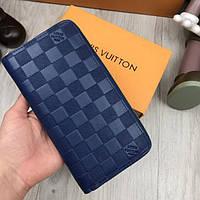 Кожаный кошелек Louis Vuitton синий с молнией змейкой клатч женский мужской кожа портмоне Луи Виттон реплика
