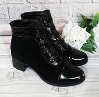 Жіночі замшеві черевики на широкому каблуці, фото 1