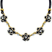 Новое Поступление: Короткое Колье под Золото Черные Цветы со Стразами, на Шнуре