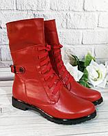 Червоні шкіряні черевики жіночі, фото 1
