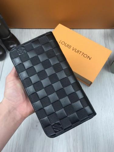 1cdae497fa78 ... Брендовый кожаный кошелек Louis Vuitton черный клатч женский мужской  кожа портмоне Луи Виттон люкс реплика,