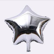 Фольгований сріблястий кулька зірка - 20см (без гелію)