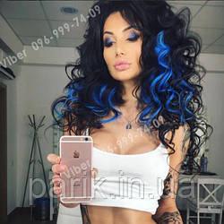 Термо волосы на клипсах синие