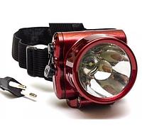 Аккумуляторный фонарик на лоб YJ-1829-1, до 10 часов работы, 1 диод 1W, зарядка от сети 220В, ремень на голову