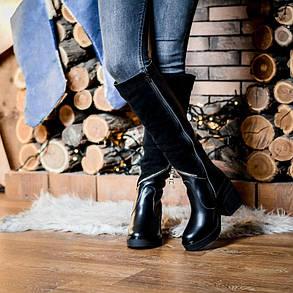 Сапоги женские комбинированныена толстой подошве  до колена размеры 36-41, фото 2