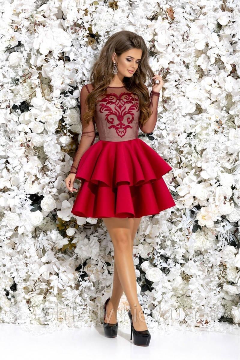 a41eb154db2 Бордовое короткое платье с сеткой и с пышной юбкой (S) - Интернет-магазин