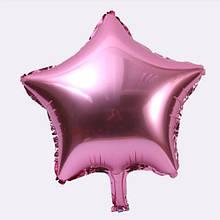 Фольгований рожевий кулька зірка - 20см (без гелію)