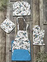 Наборы для кухни из хлопка (фартук, прихватка, рукавица, колпак)