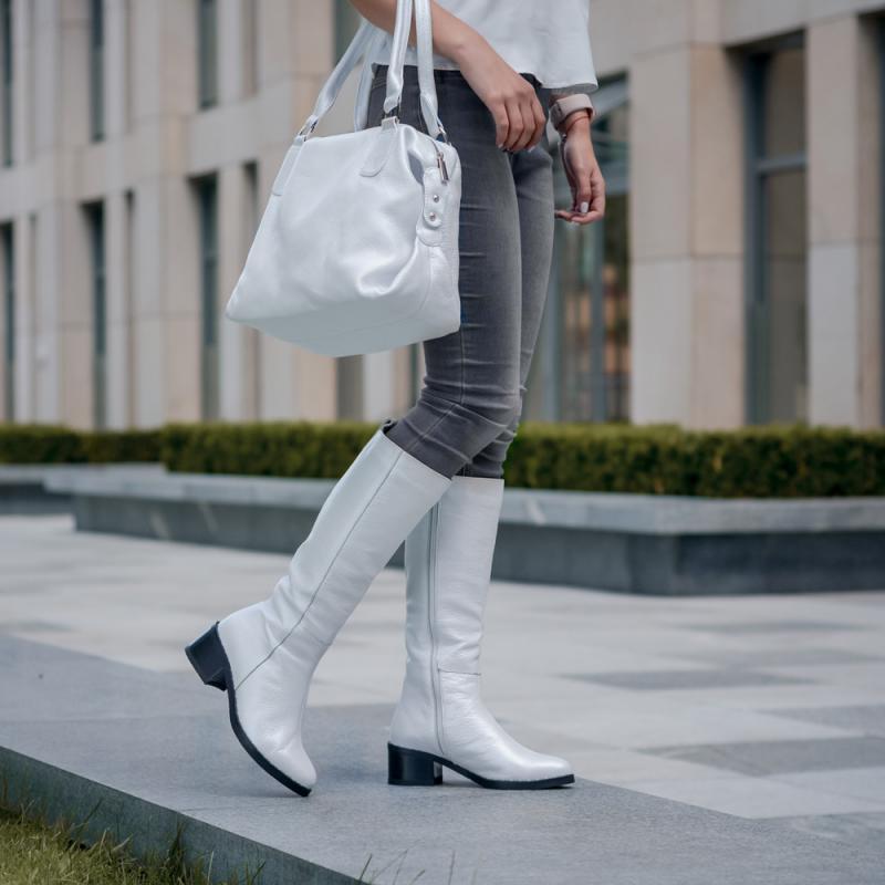 Сапоги женские кожаные на устойчивом  каблуке   ниже  колена размеры 36-41