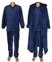 Комплект мужской махровый 18301 18302 Classic Dark Blue вельсофт, пижама и халат, р.р.48-50