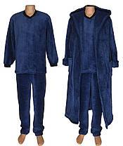 Комплект мужской махровый 18301 18302 Classic Dark Blue вельсофт, пижама и халат