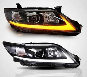 Диодные фары LED тюнинг оптика Toyota Camry V40 (09-11) рестайлинг стиль Lexus