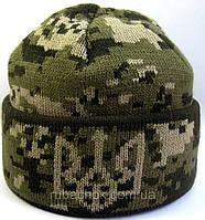 №3 -  Шапка вязаная темный пиксель с подворотом и гербом Украины флисом на всю голову