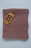 Отличный вязаный баф на флисе розового цвета, зимний шарф