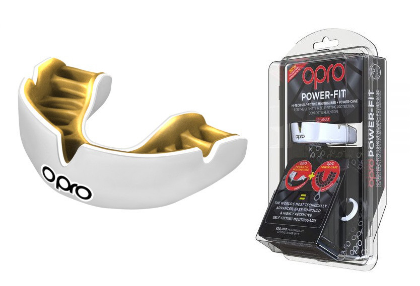 Капа OPRO Power-Fit Single Series White/Gold (art.002268004)