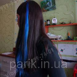 Волосся на кліпсах синє