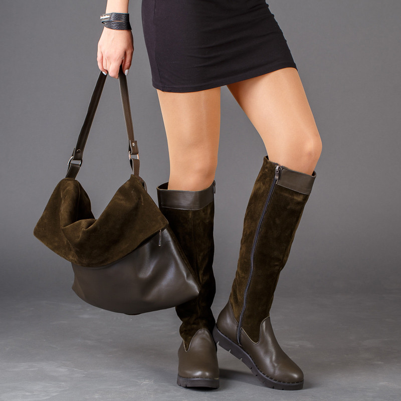 Сапоги женские кожаные комбинированные с замшей на тракторной подошве до колена размеры 36-41