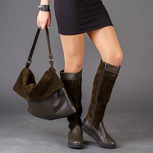 Сапоги женские кожаные комбинированные с замшей на тракторной подошве до колена размеры 36-41, фото 2