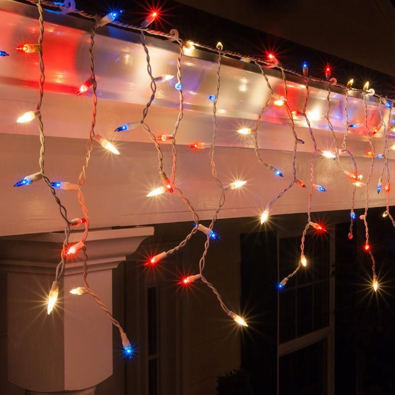 Гирлянда Бахрома (сосулька-штора) 120 LED 5mm на прозрачном проводе белый-теплый цвет